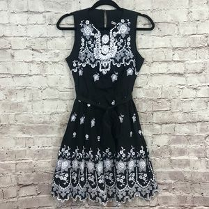 NANETTE LEPORE MEXICAN EMBROIDERY BEADED SUN DRESS
